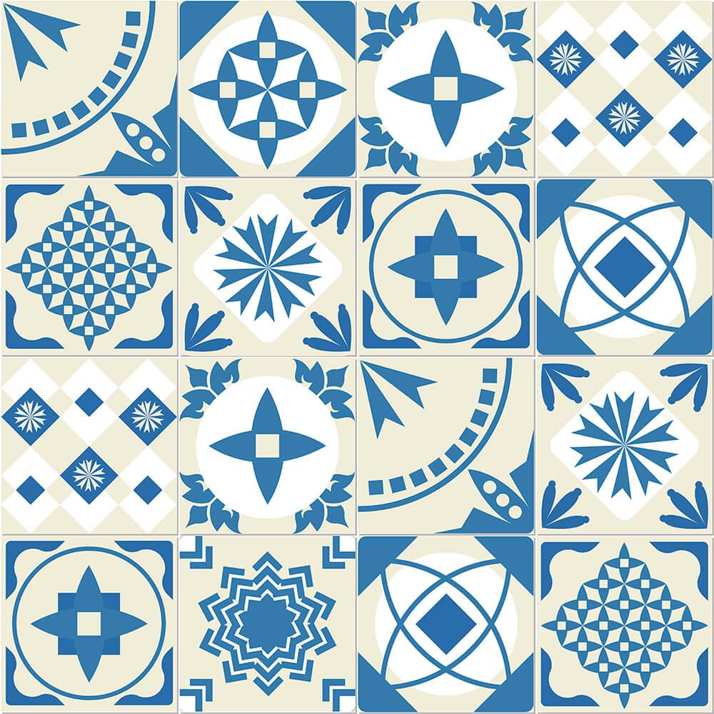 Adesivo de Azulejo Português Clássico Azul e Bege 1