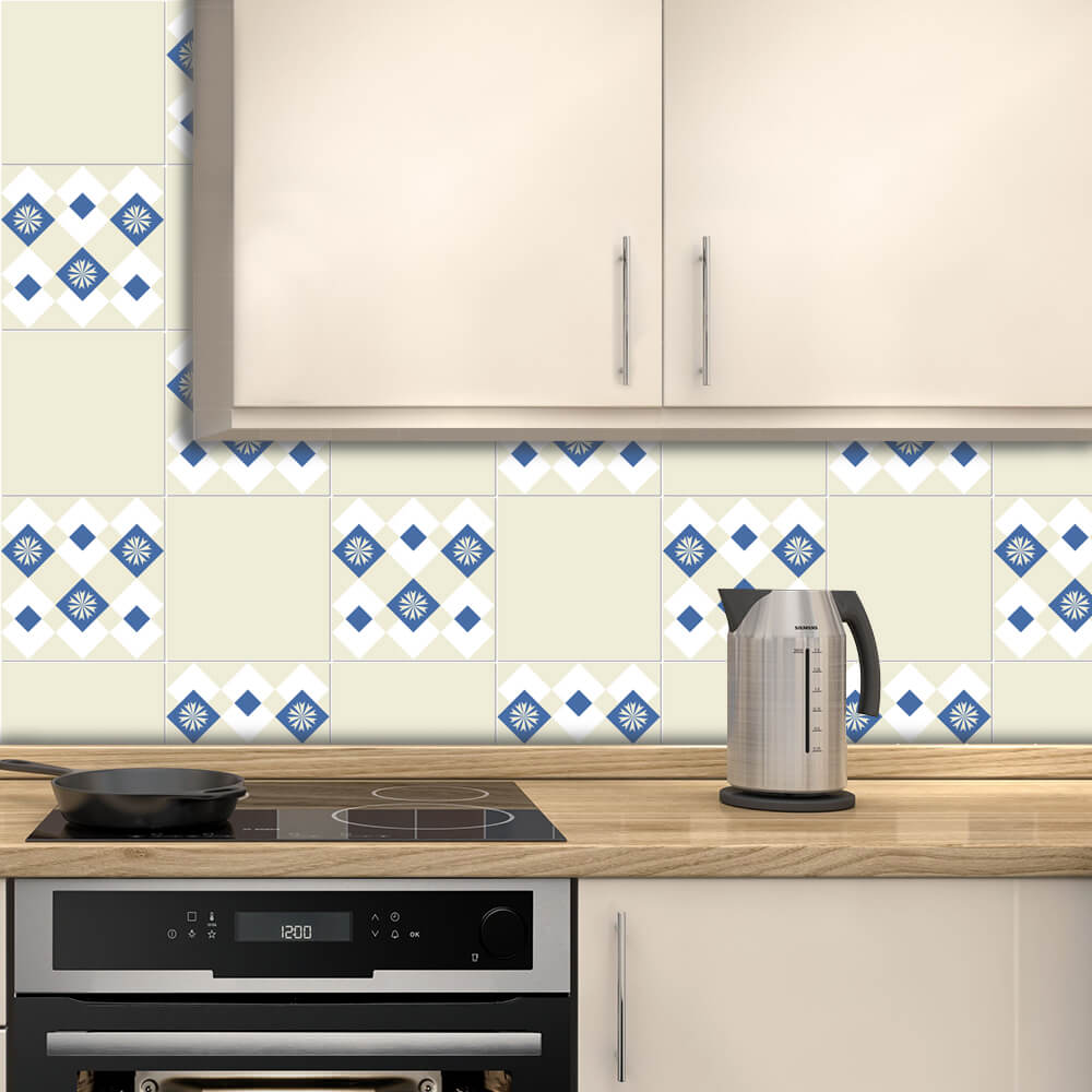 Adesivo de Azulejo Português Clássico Azul e Bege 3