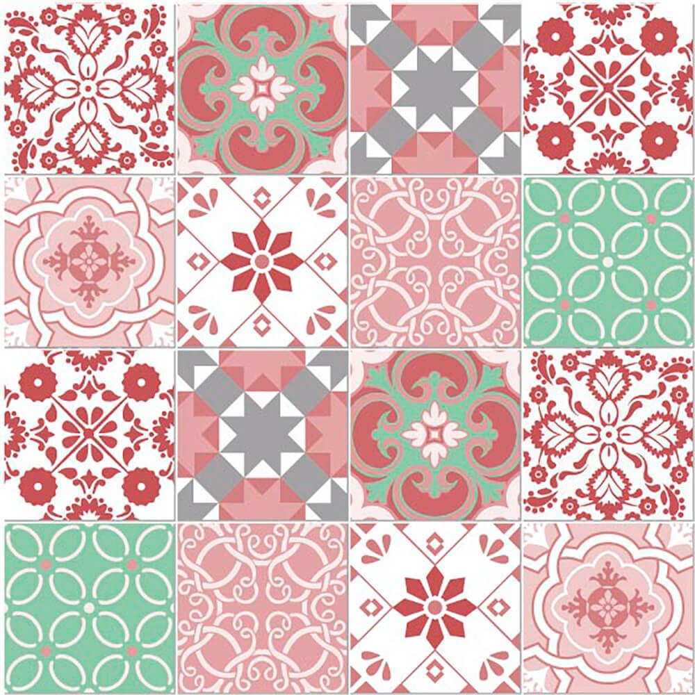 Adesivo de Azulejo Retrô Rosa