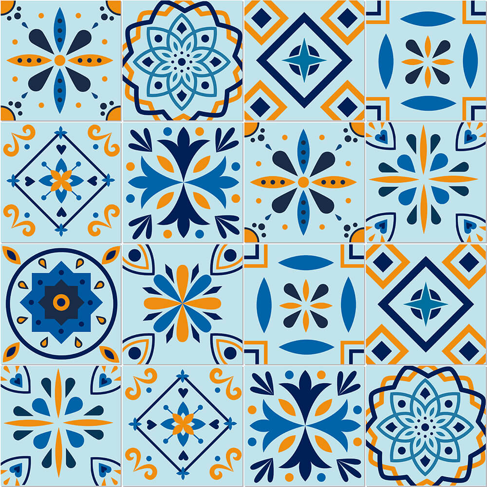 Adesivo de Azulejo Tons Azuis 1