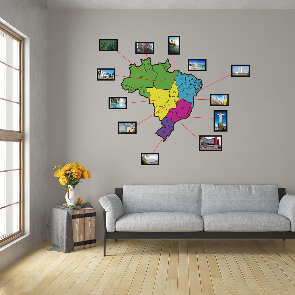 Adesivo de Parede Mapa do Brasil Colorido com Molduras