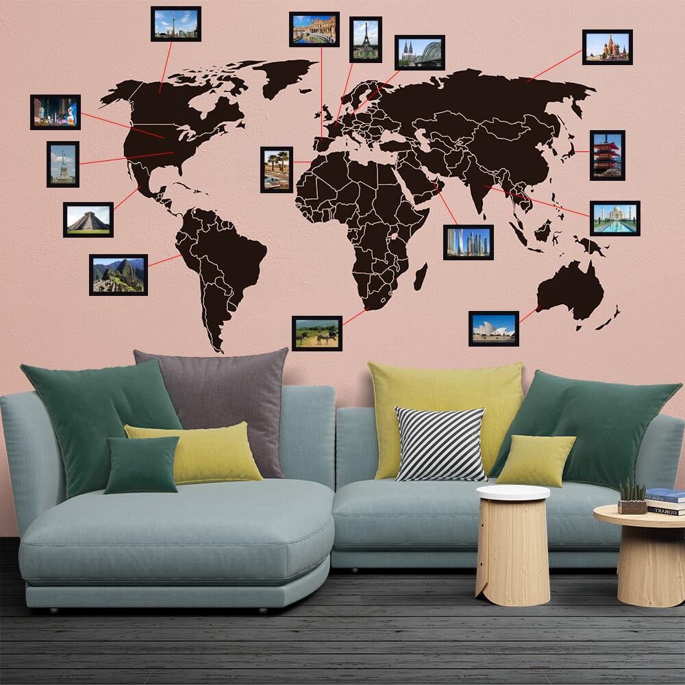 Adesivo de Parede Mapa Mundi com Molduras