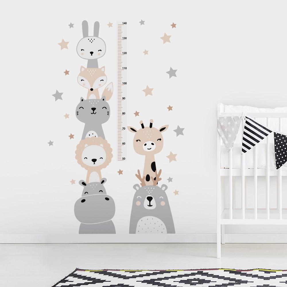 Adesivo de Parede Regua Infantil Animais