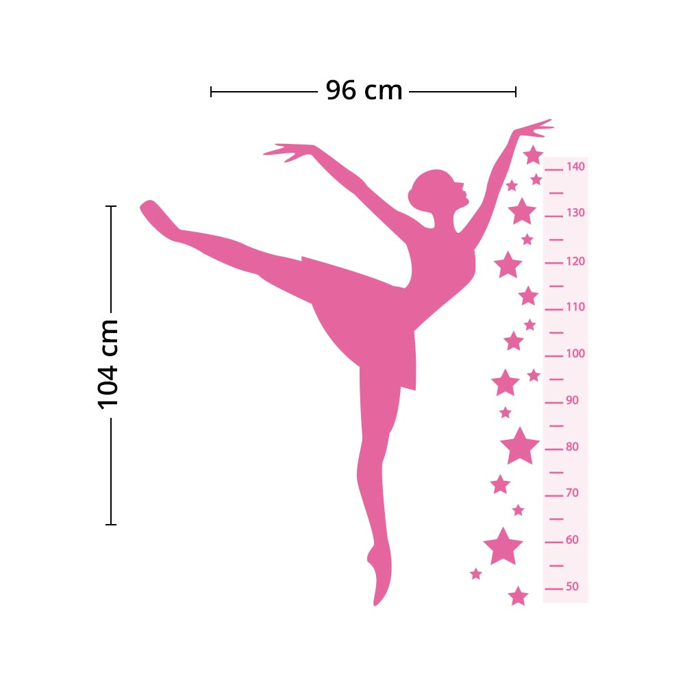 Adesivo de Parede Regua Infantil Bailarina 3