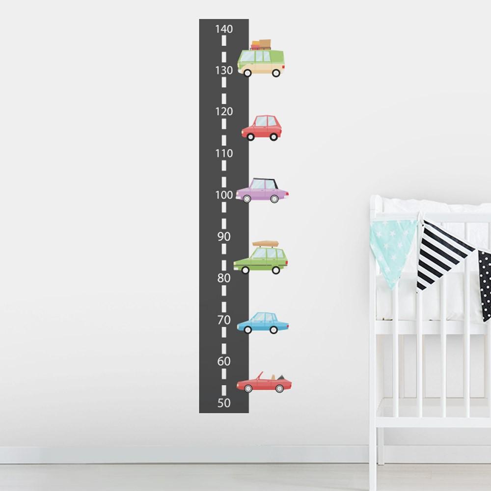 Adesivo de Parede Regua Infantil Carrinhos 1