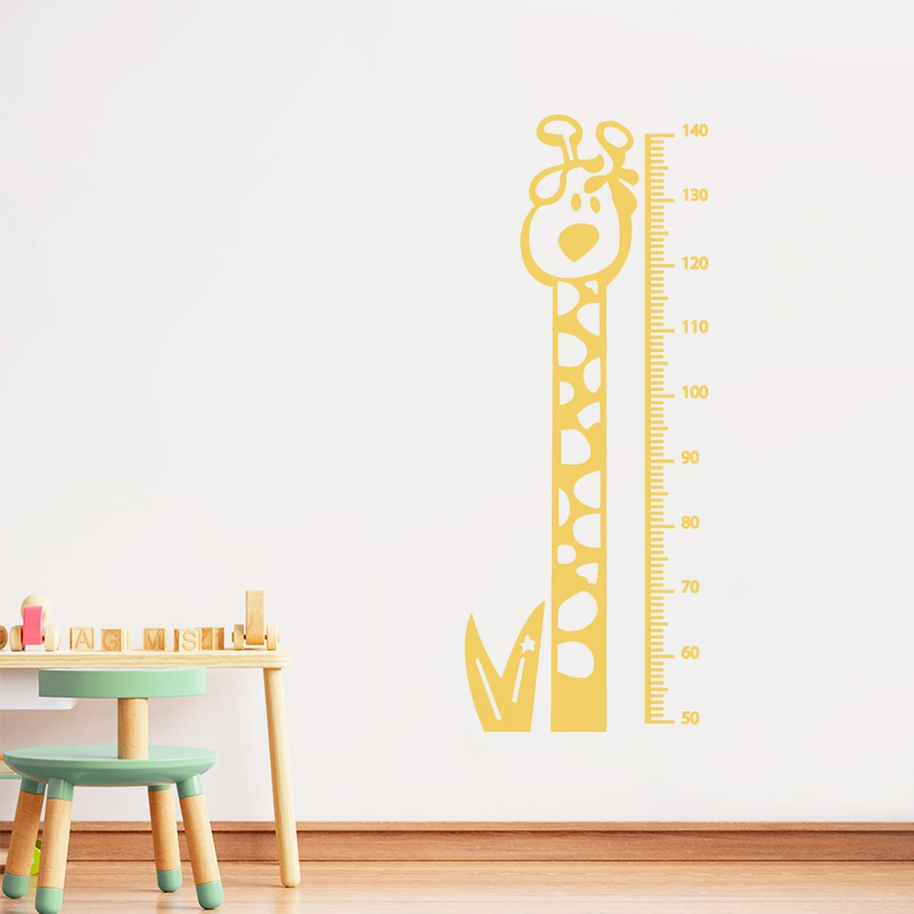 Adesivo de Parede Regua Infantil Girafa Minimalista