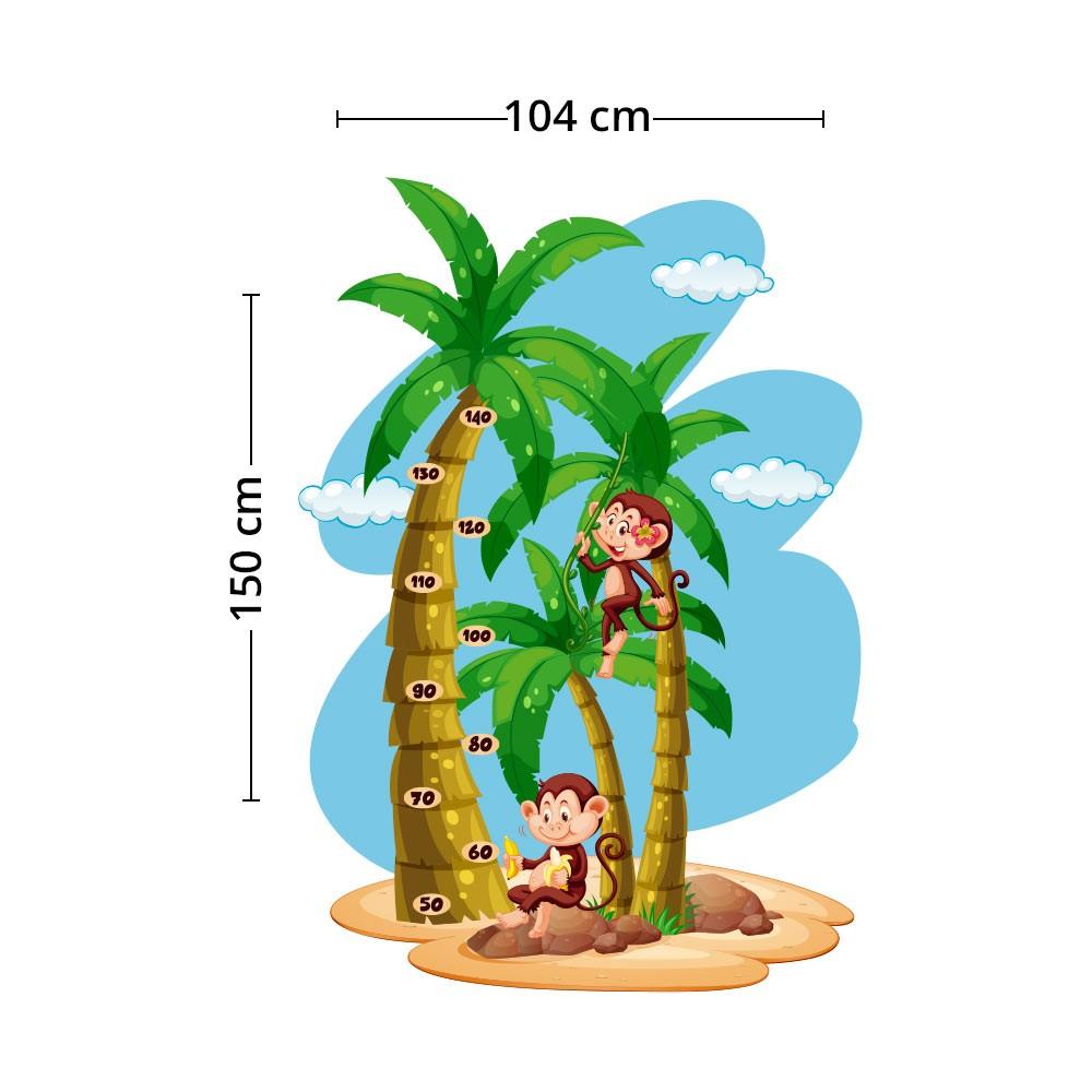 Adesivo de Parede Regua Infantil Macaquinhos