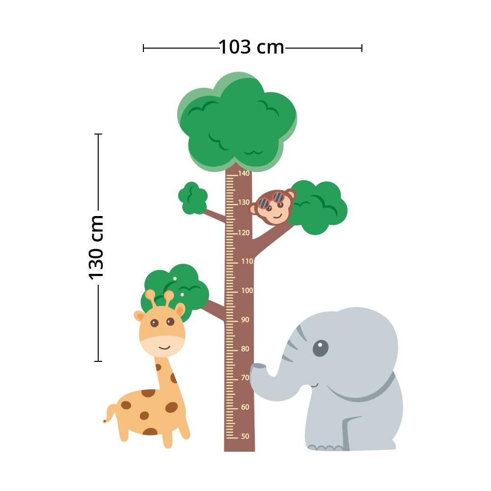 Adesivo de Parede Regua Infantil Safari 2
