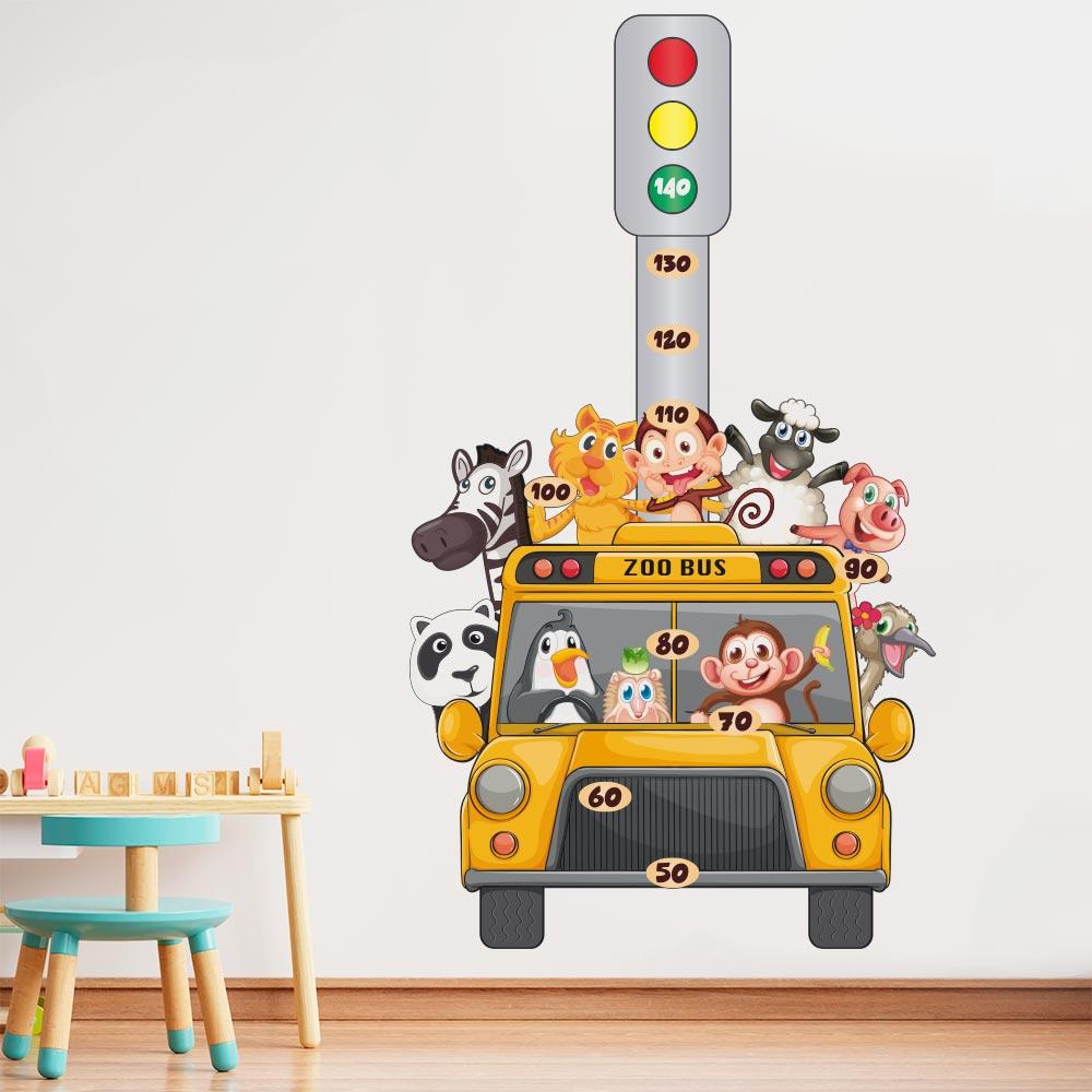 Adesivo de Parede Regua Infantil Zoo Bus