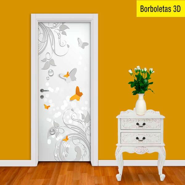Adesivo de Porta Borboletas 3D