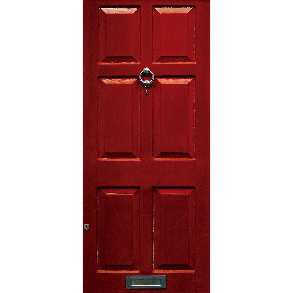 Adesivo de Porta Clássica Madeira Vermelha