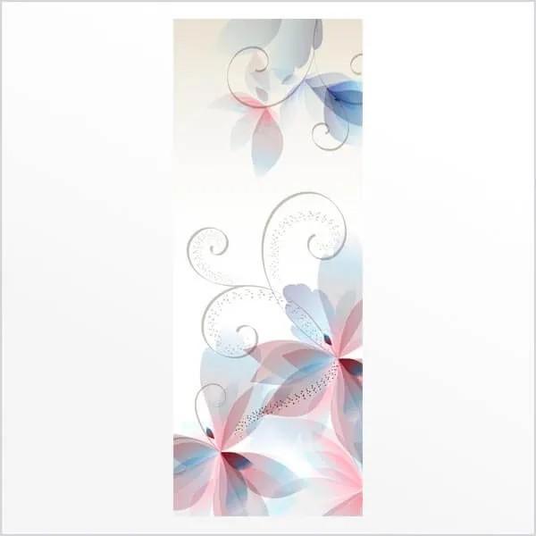 Adesivo de Porta Floral Abstrato 1