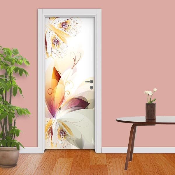 Adesivo de Porta Floral Abstrato 3