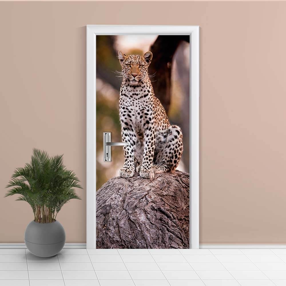 Adesivo de Porta Leopardo