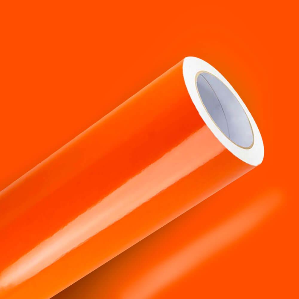 Adesivo Para Envelopamento Brilho Premium Laranja Intenso