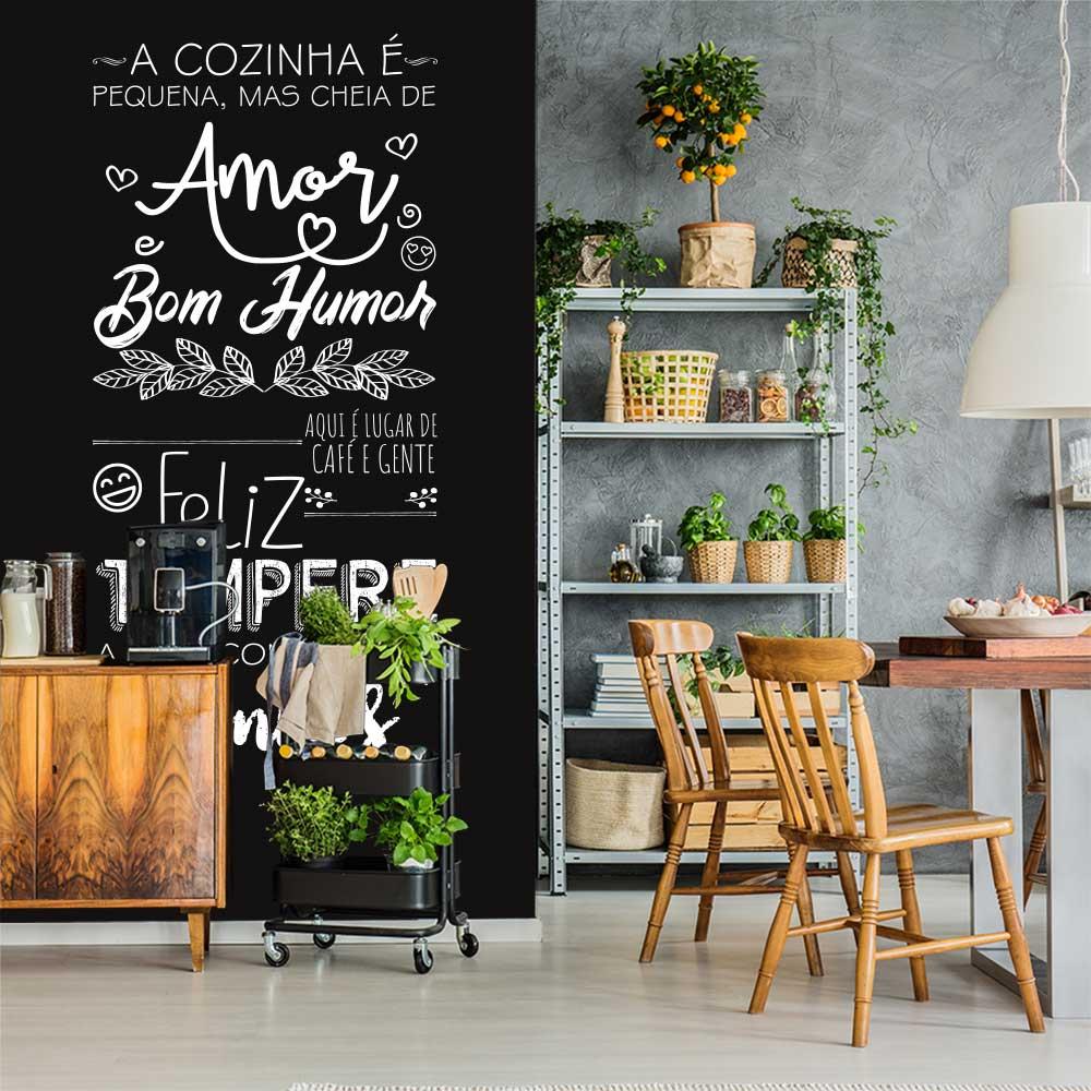 Adesivo Parede Frase A Cozinha é Pequena Mais Cheia de Amor