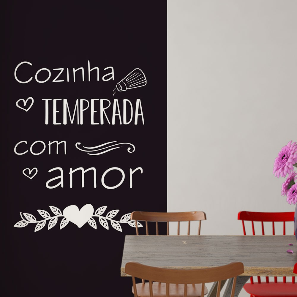 Adesivo Parede Frase Cozinha Temperada com Amor
