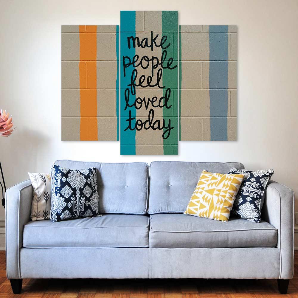 Kit 3 Placas Decorativas Mosaico - Make People Feel Loved
