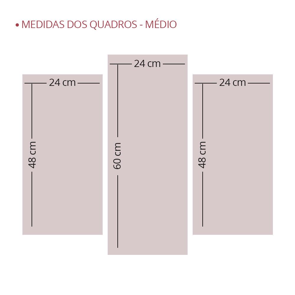 Kit 3 Placas Decorativas Mosaico - Rosa