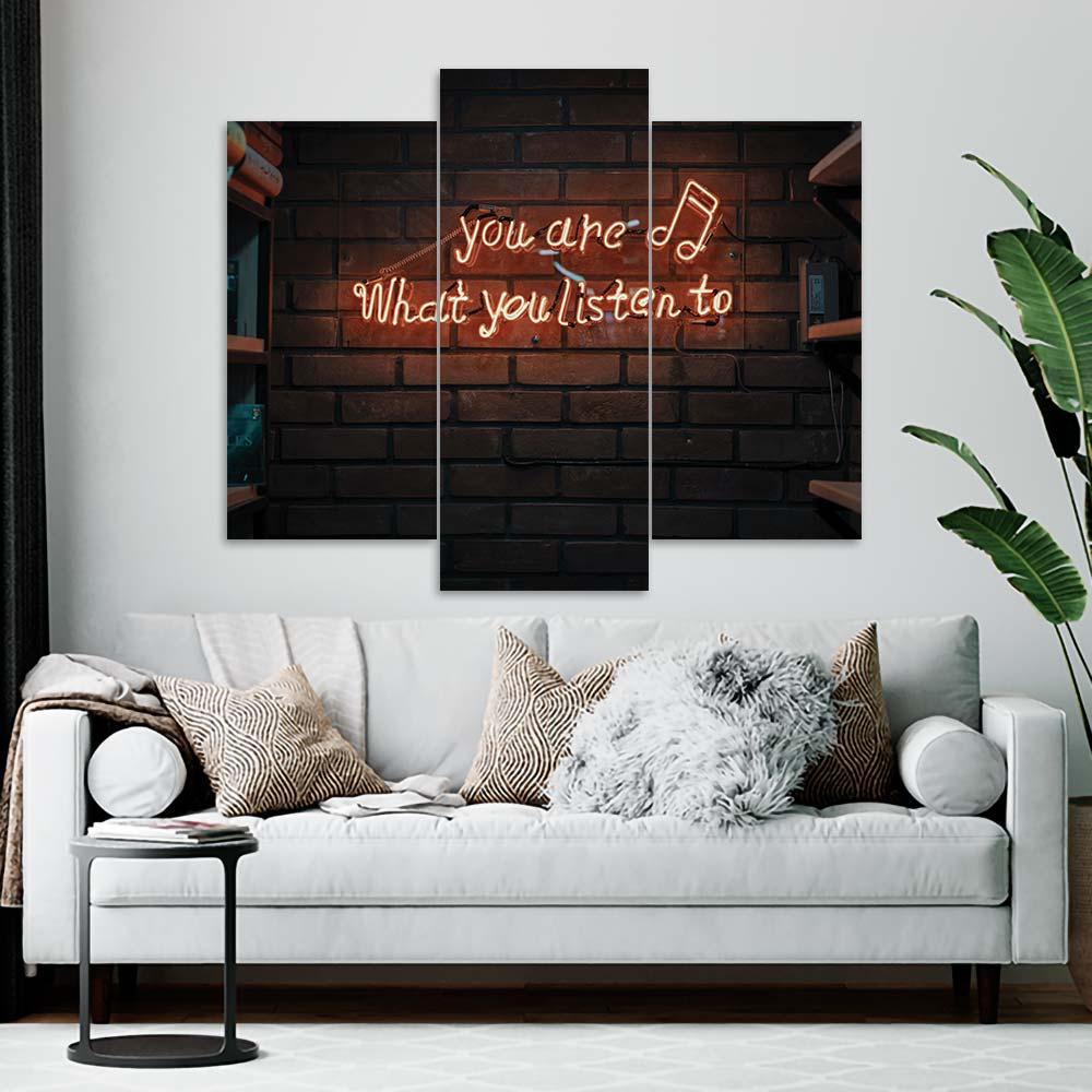 Kit 3 Placas Decorativas Mosaico - You Are What You Listen