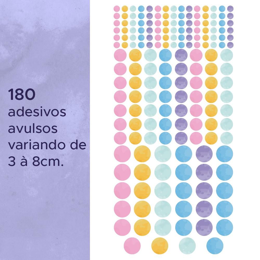 Kit de Adesivos Infantis Bolinhas Aquarela 2