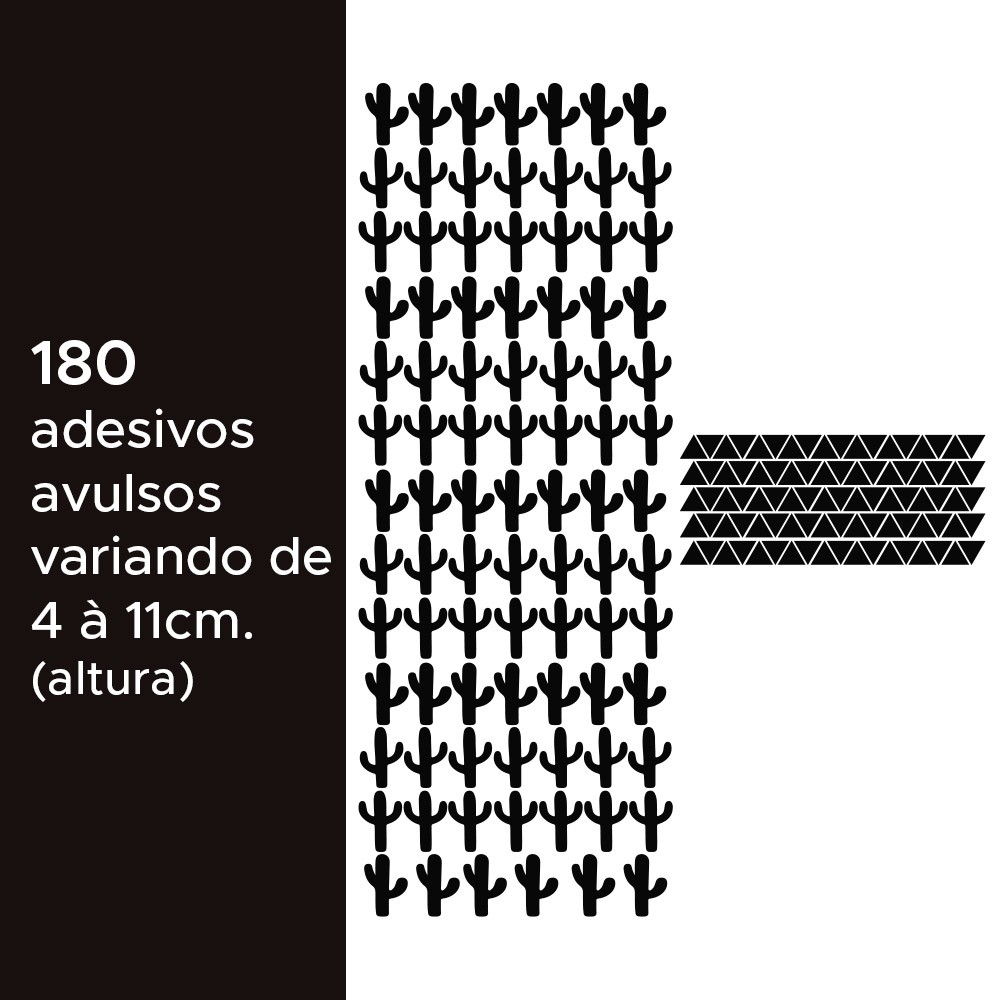 Kit de Adesivos Infantis Cactos e Triângulos
