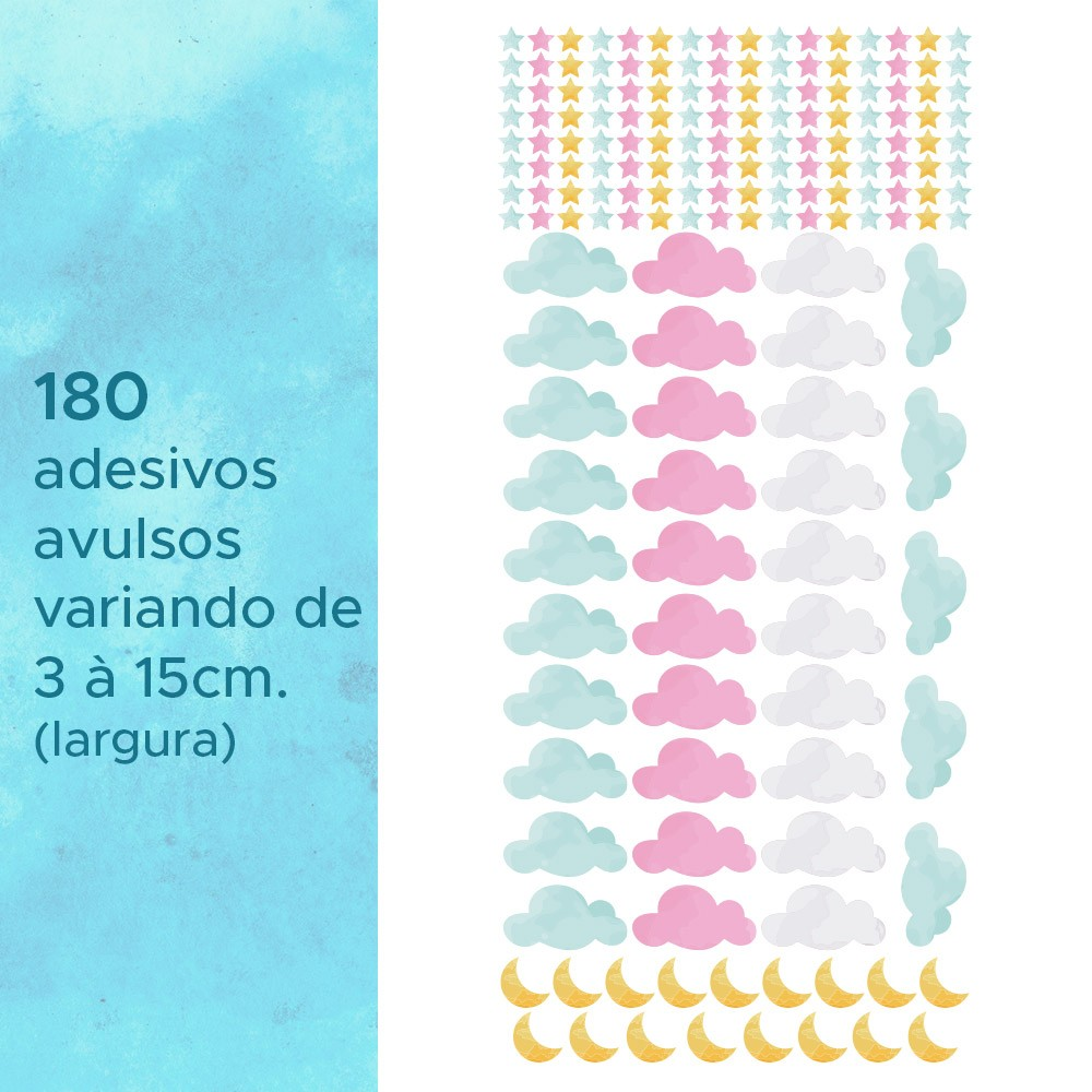 Kit de Adesivos Infantis Céu Aquarela