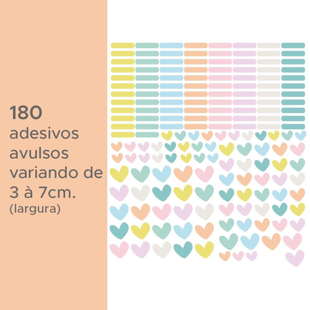 Kit de Adesivos Infantis Corações e Traços Candy