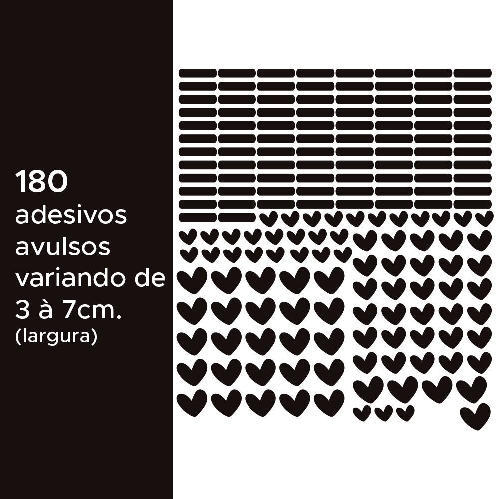 Kit de Adesivos Infantis Corações e Traços Preto