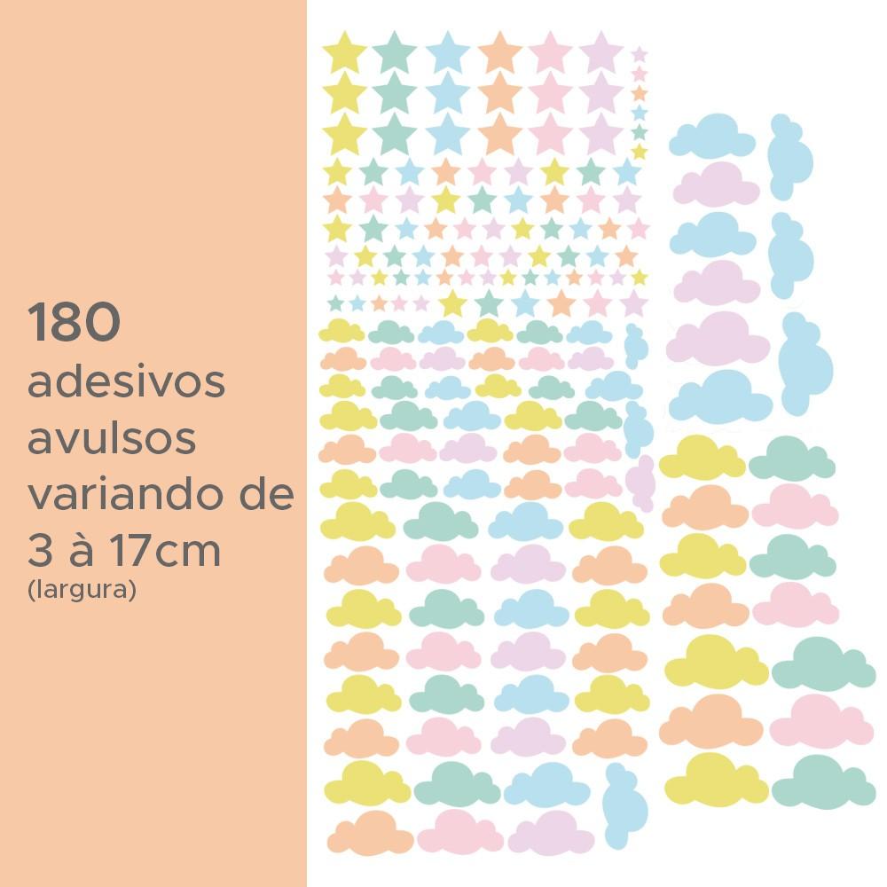 Kit de Adesivos Infantis Estrelas e Nuvens Candy
