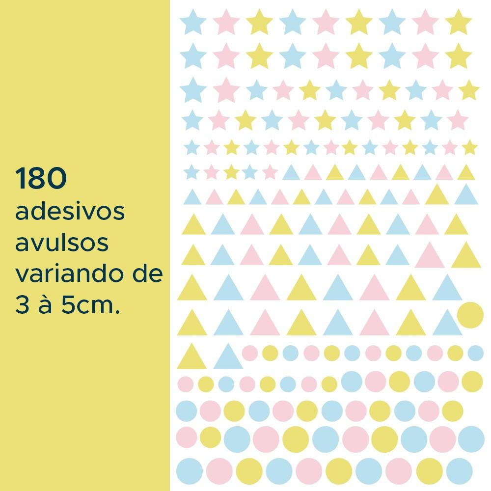 Kit de Adesivos Infantis Estrelas, Triângulos e Círculos 3