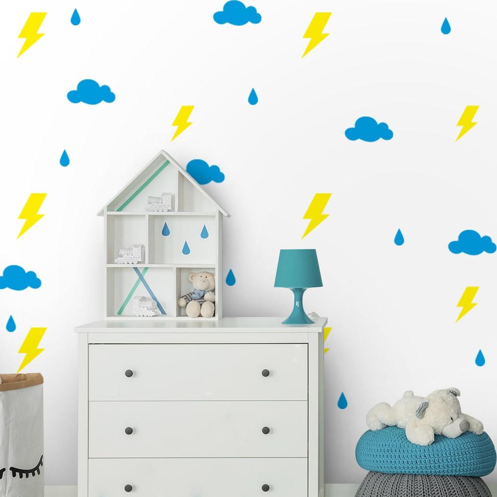 Kit de Adesivos Infantis Raios, Nuvens e Gotas