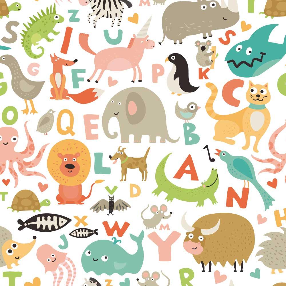 Papel de Parede Animais e Letras