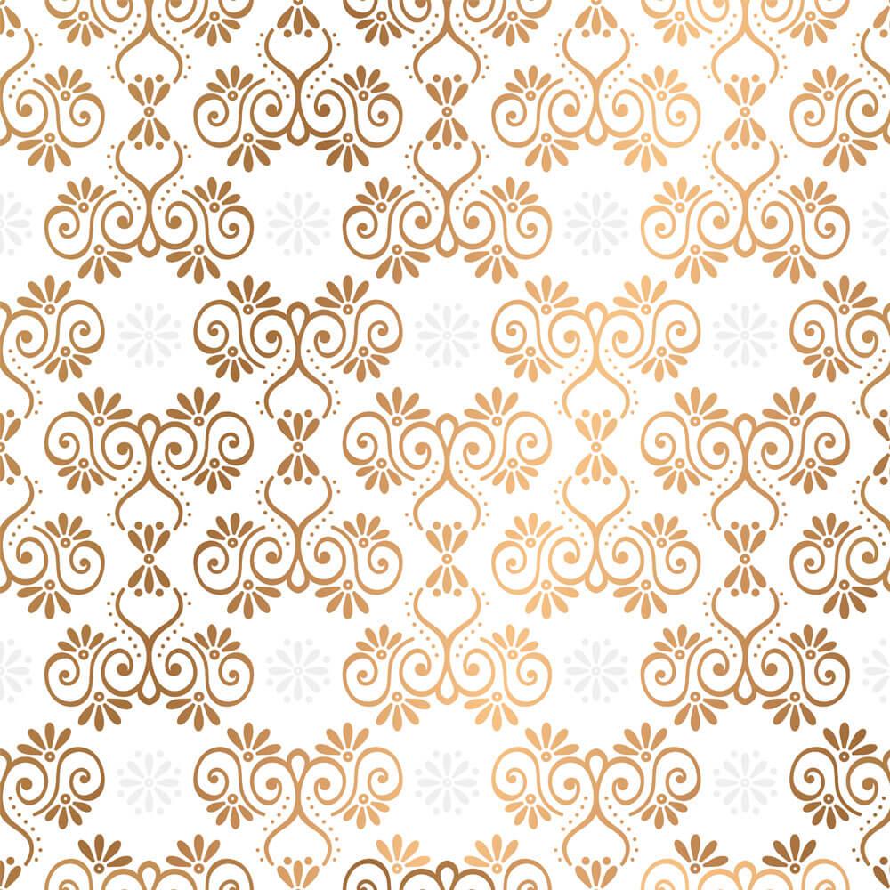 Papel de Parede Arabesco Branco e Dourado 2