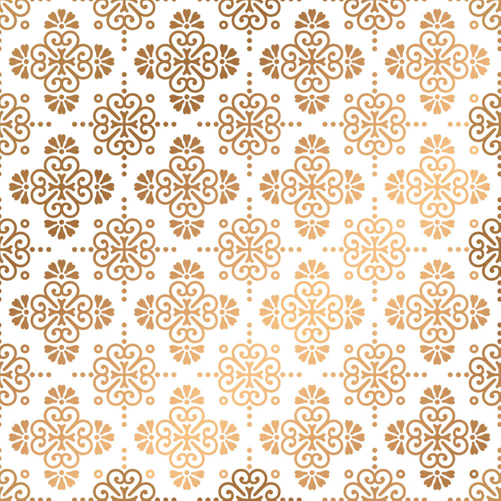Papel de Parede Arabesco Branco e Dourado