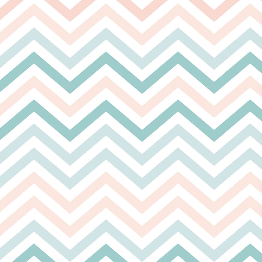 Papel de Parede Infantil - Chevron Rosa, Azul e Branco
