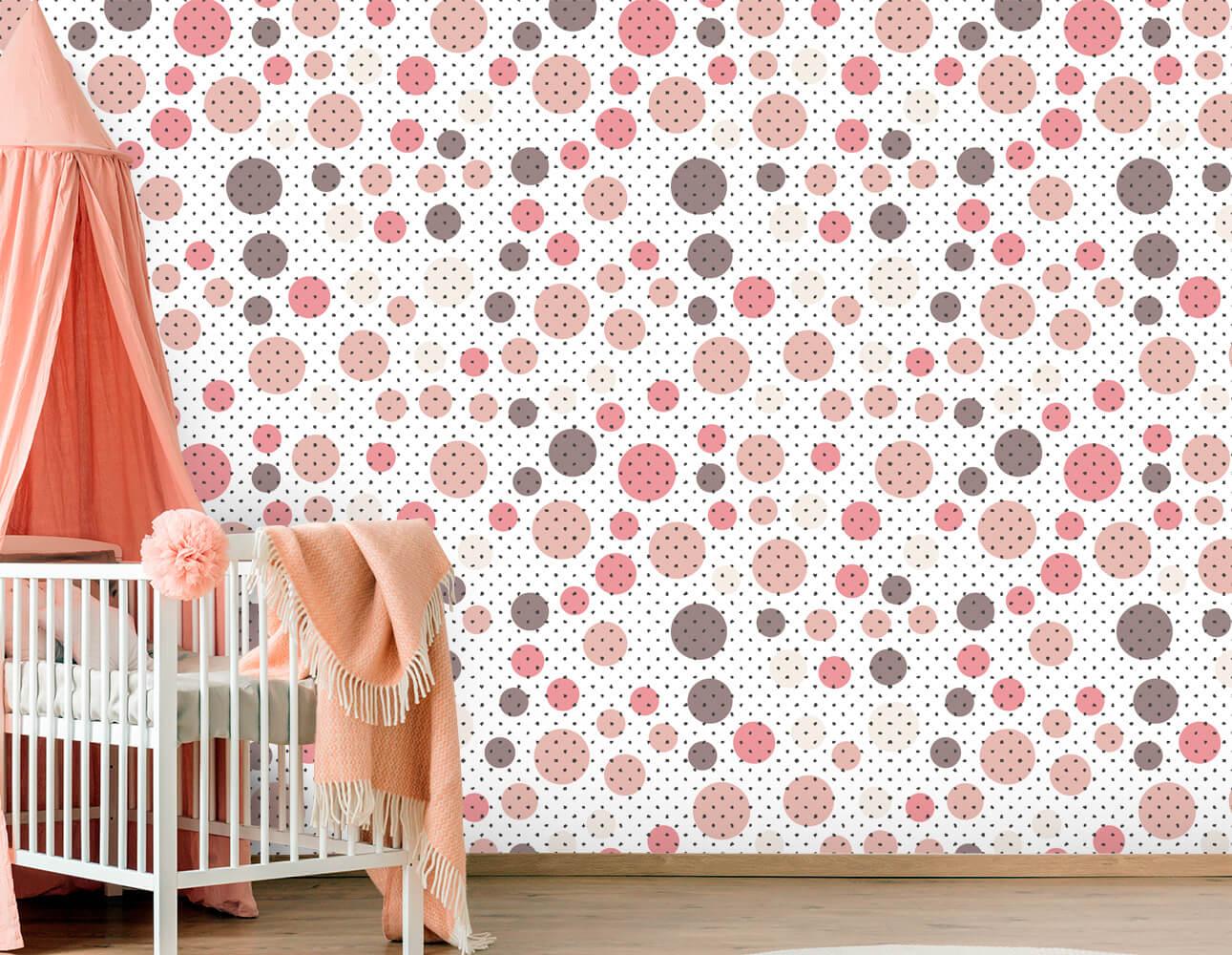 Papel de Parede Infantil - Círculos Rosas
