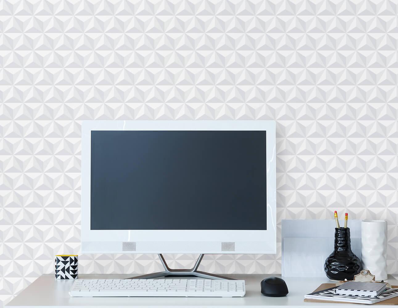 Papel de Parede Clean 3D Branco