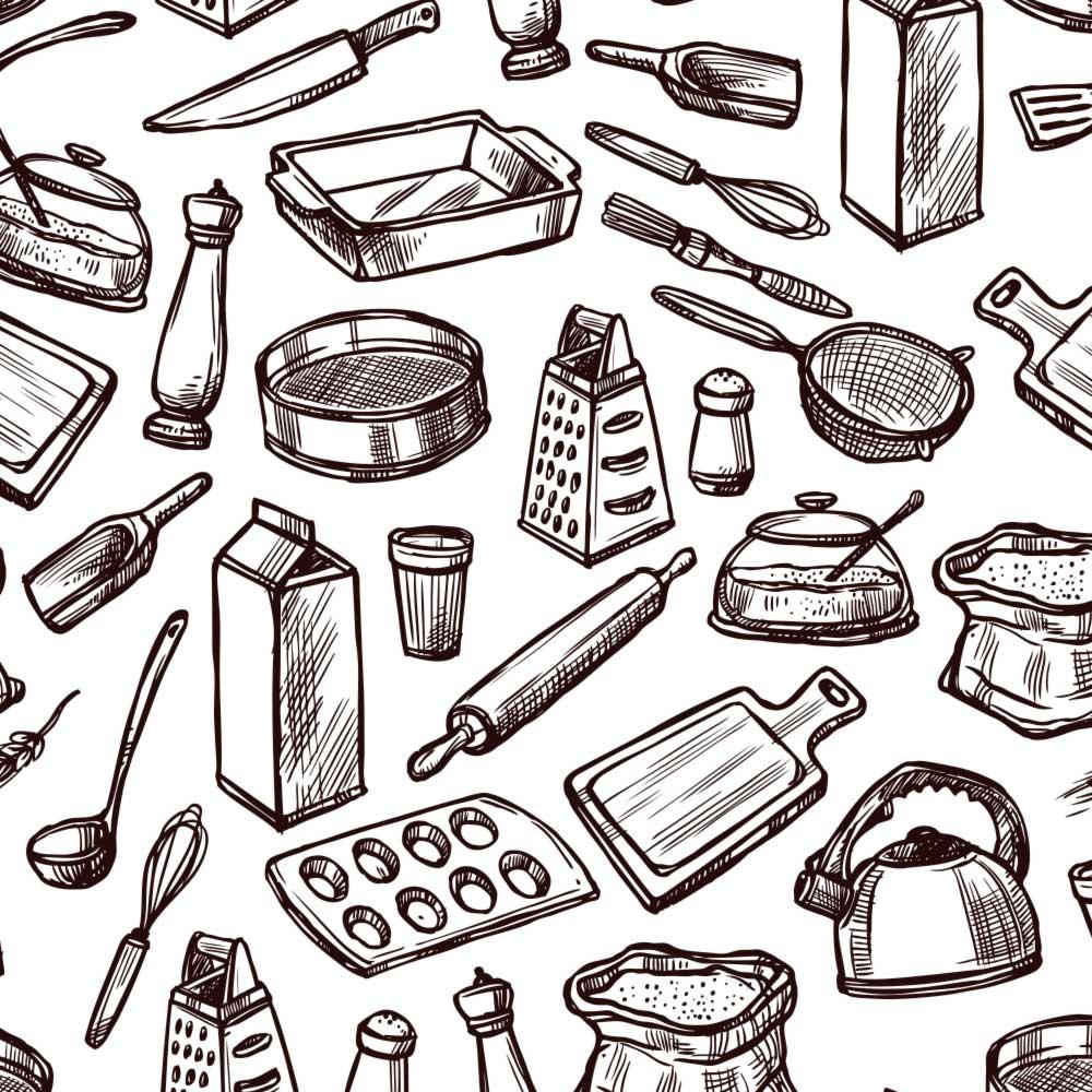 Papel de Parede Cozinha Desenhada