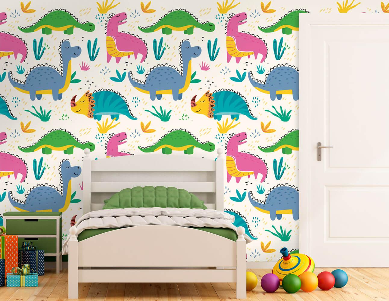 Papel de Parede Infantil - Dinossauros Coloridos