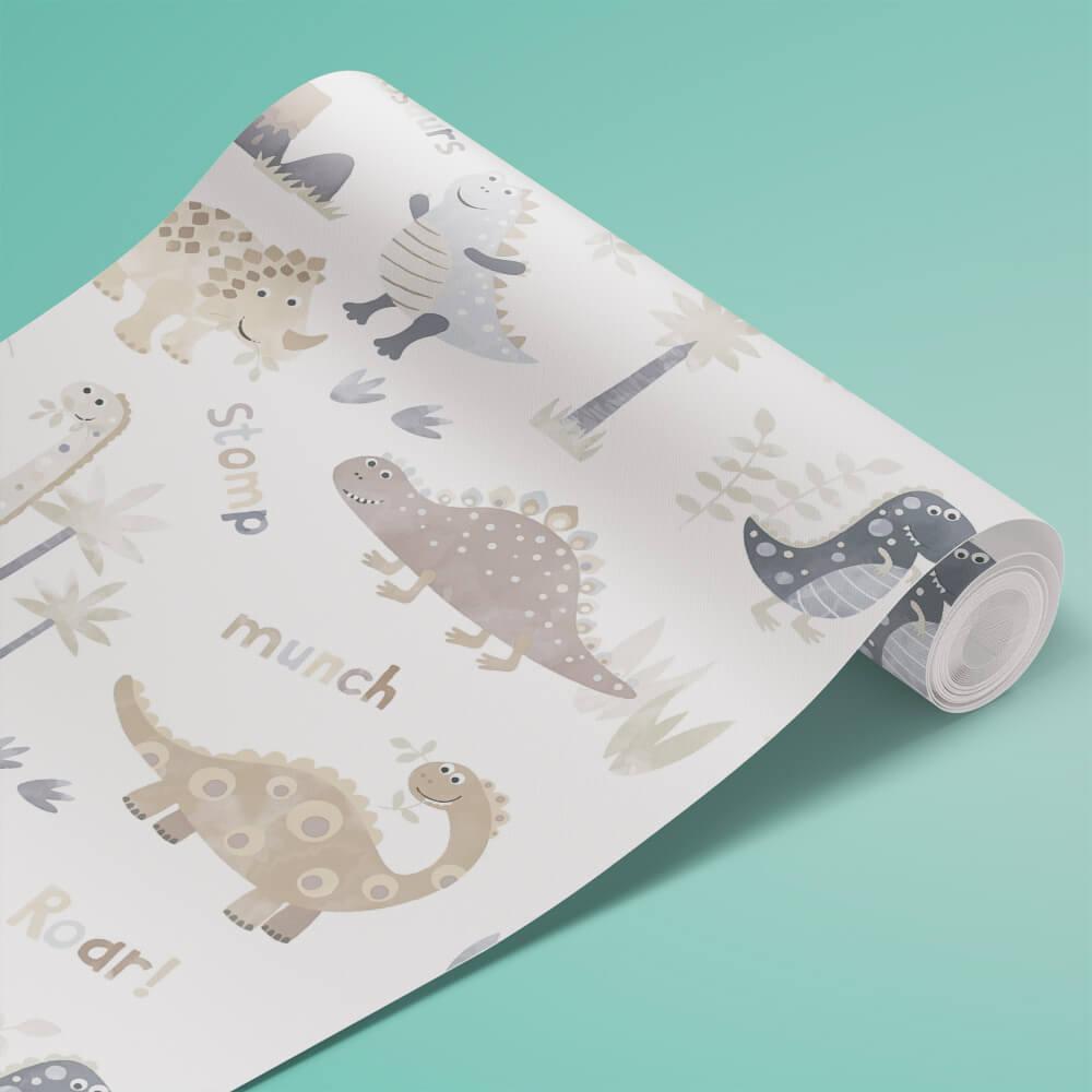 Papel de Parede Dinossauros Tiny Tots