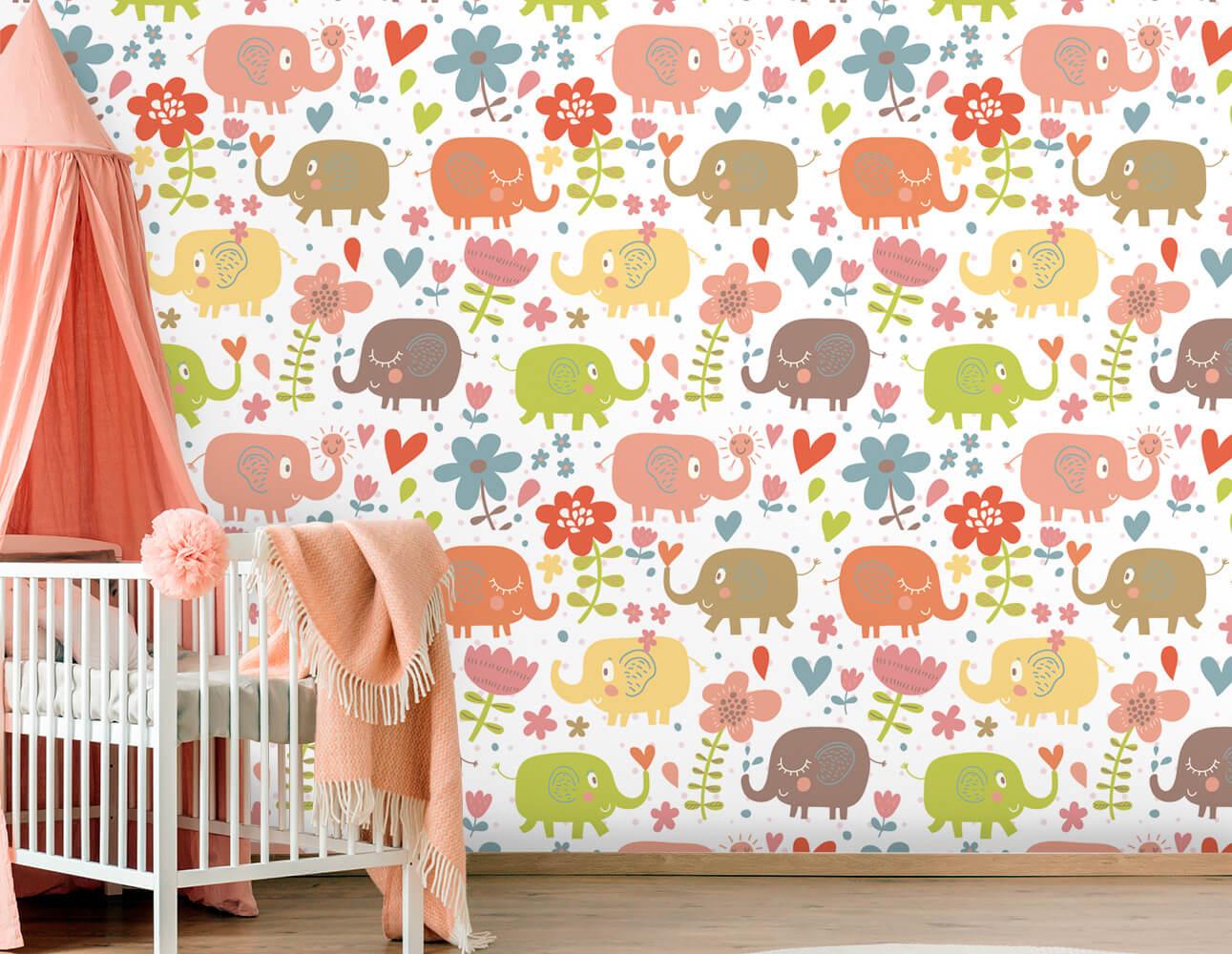 Papel de Parede Infantil - Elefantes, Flor e Coração