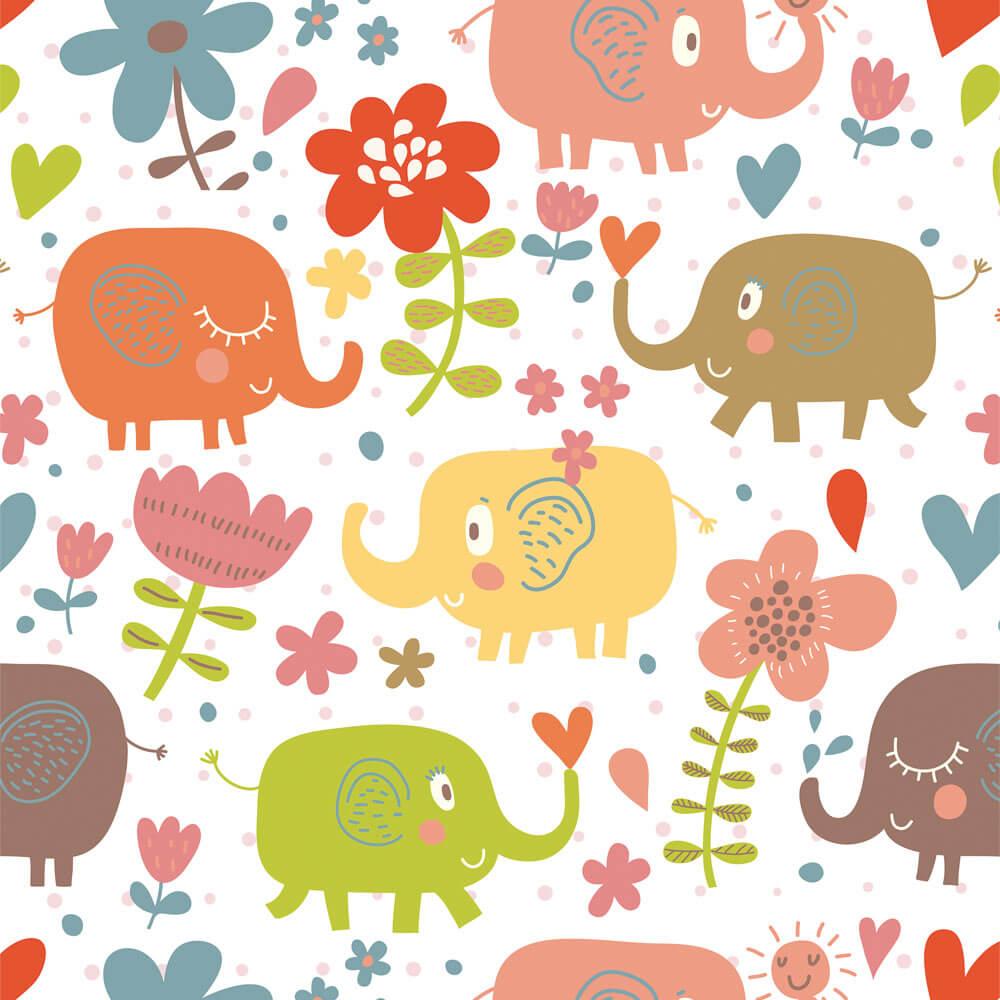 Papel de Parede Elefantes, Flor e Coração