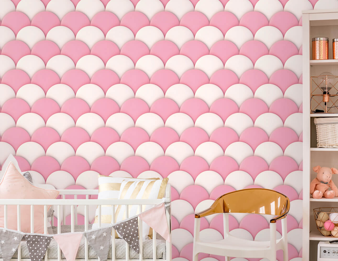 Papel de Parede Infantil - Escamas Rosa e Branco
