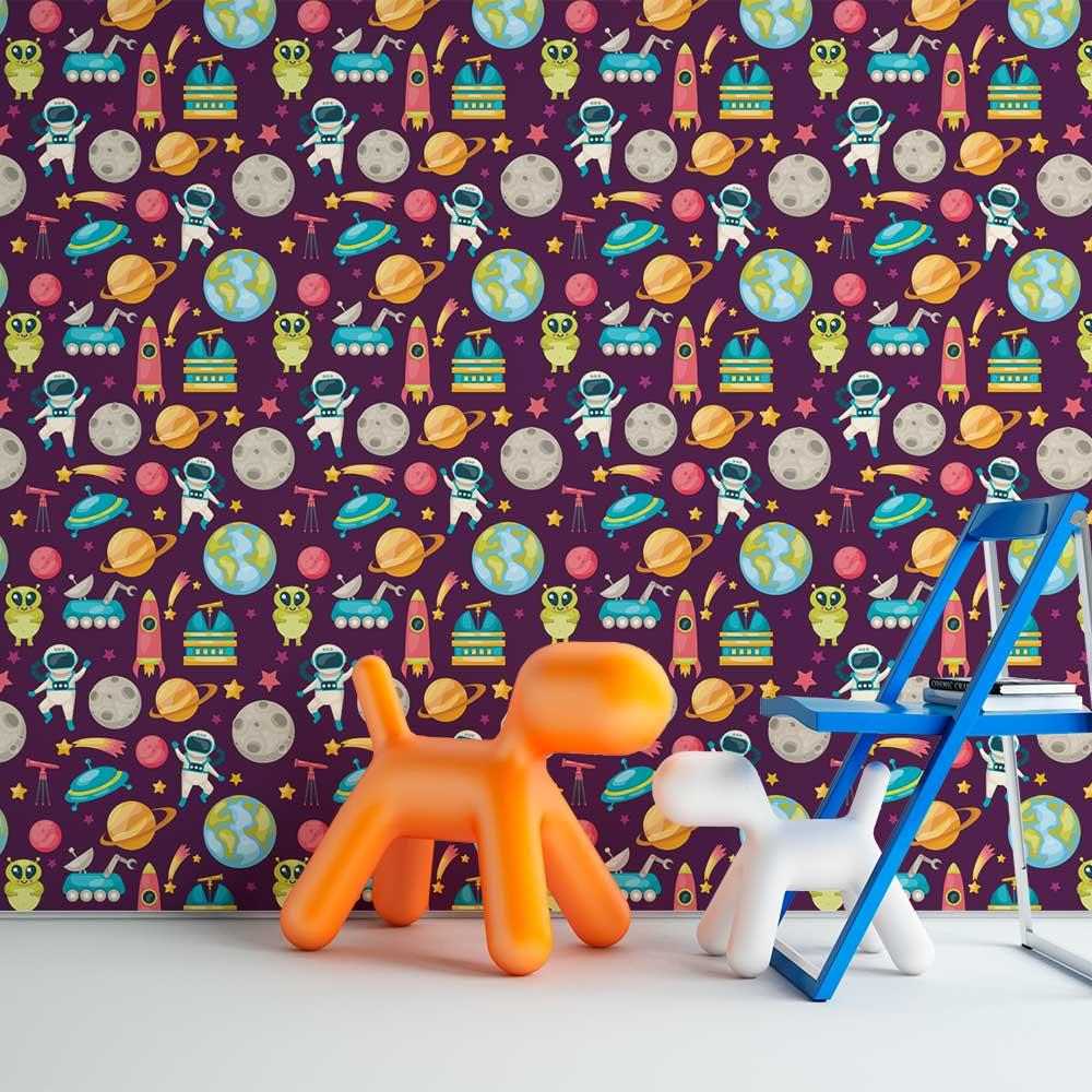 Papel de Parede Infantil - Espaço Colorido 2