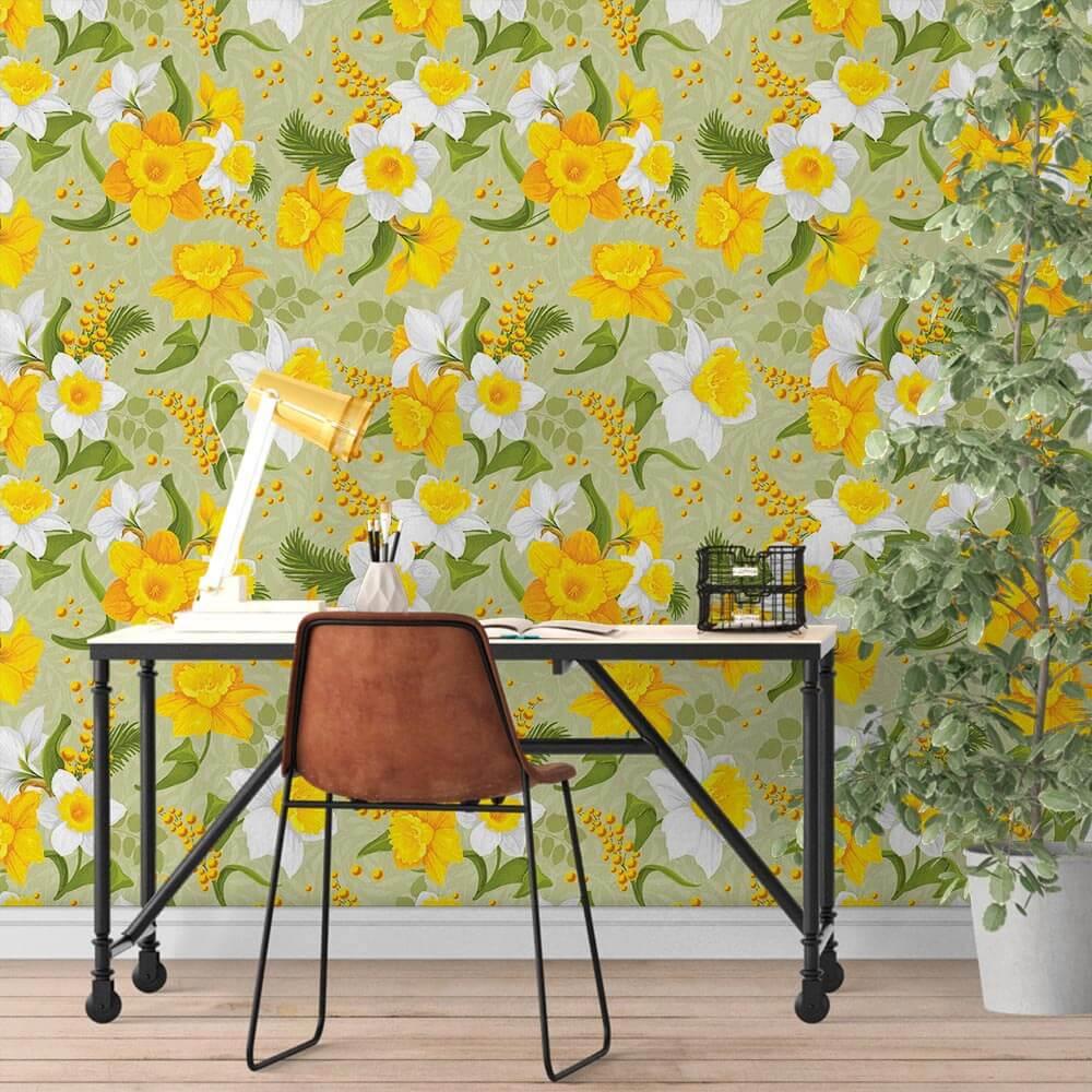 Papel de Parede Floral Amarelo