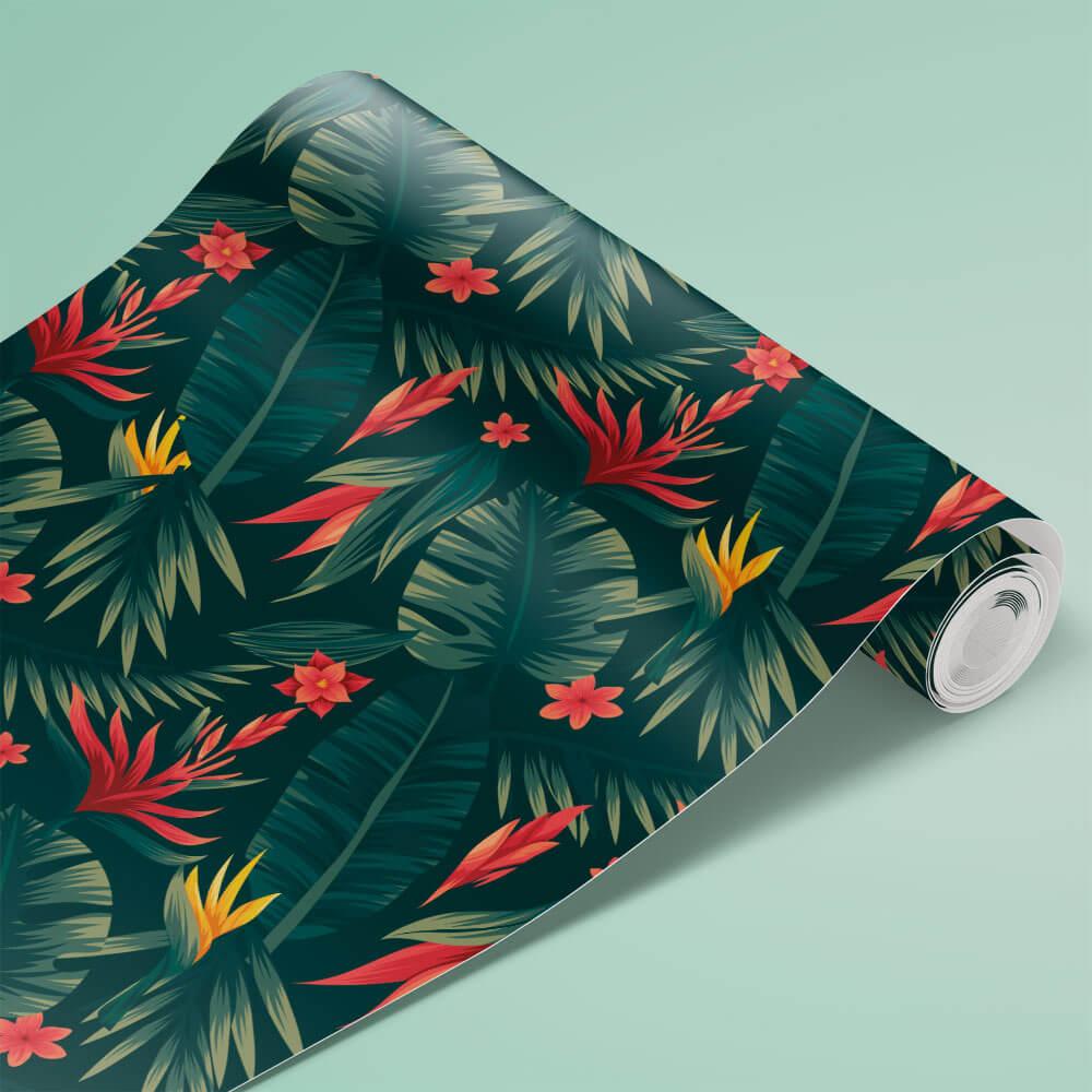 Papel de Parede Folhas Tropicais