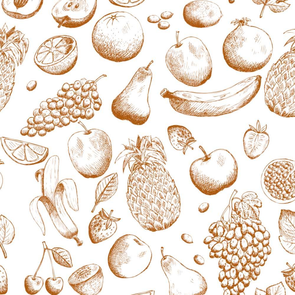 Papel de Parede Frutas Desenhadas