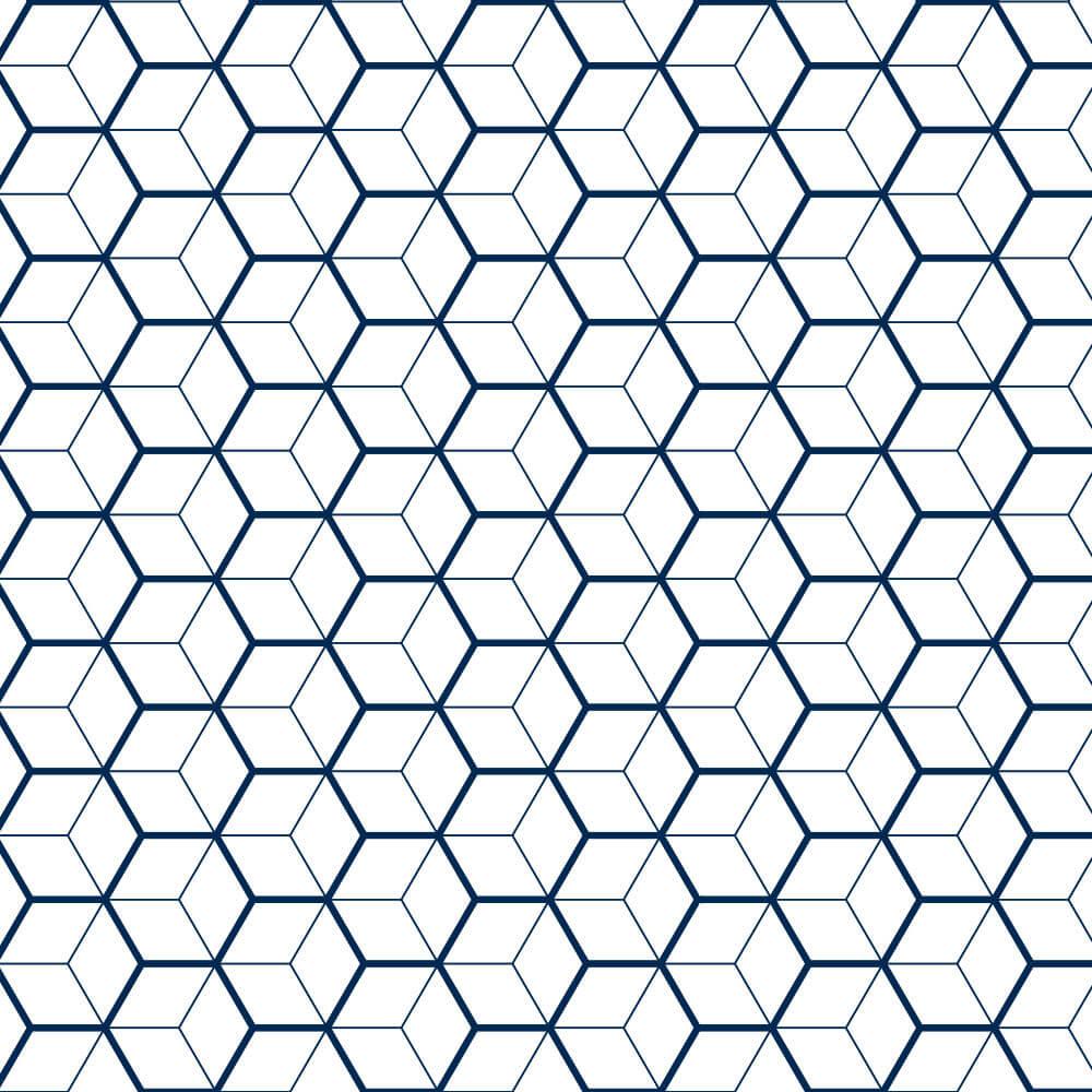 Papel de Parede Geométrico 3D Azul e Branco
