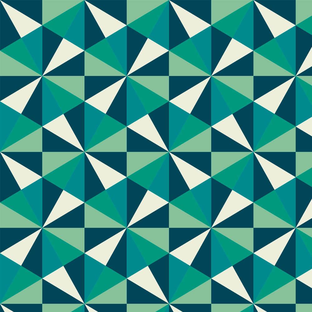 Papel de Parede 3D - Geométrico 3D Verde e Branco 2